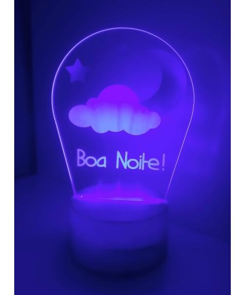 Luminária em Acrílico Sem Fio: Boa Noite