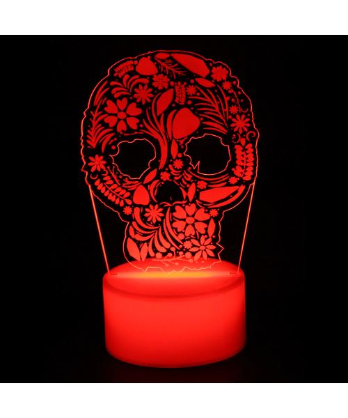 Luminária em Acrílico Sem Fio: Caveira Mexicana