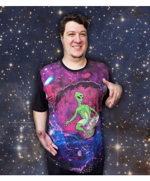 Camiseta ET Surfando na Galáxia!