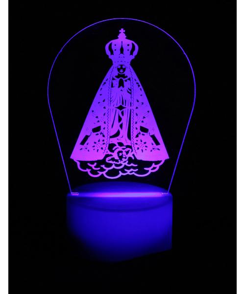 Luminária em Acrílico Sem Fio: Nossa Senhora Aparecida Detalhada