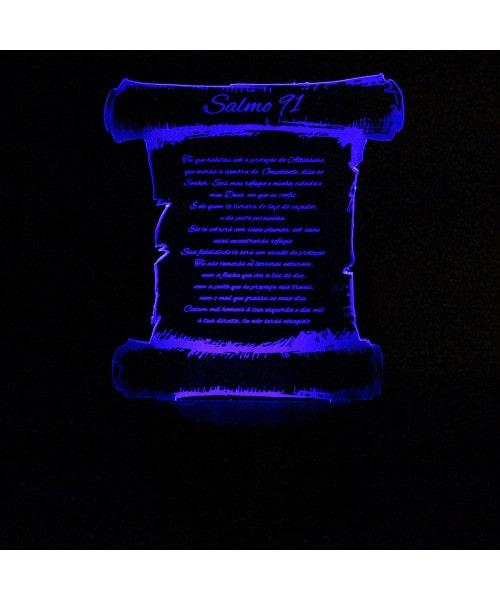 Luminária em Acrílico Sem Fio: Salmo 91