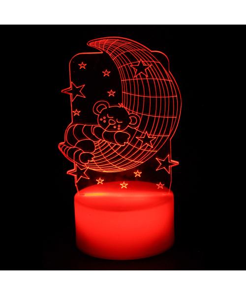 Luminária em Acrílico Sem Fio: Ursinho Vermelho